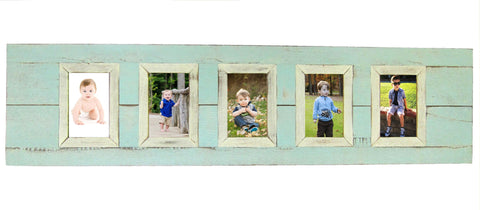 SN 301 BEACH BLUE // 5 picture recycled wood photo frame (4 x 6)