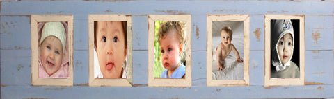 SN 301 SKY BLUE // 5 picture recycled wood photo frame (4 x 6)