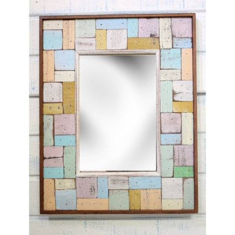 "SN 026 // Boat Wood Block Party Multicolor Mirror 15"" x 19"""