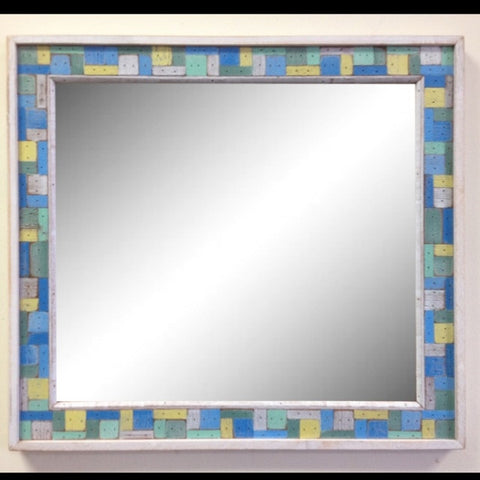 SN027 // Boat Wood Block Party Multicolor Mirror with Border