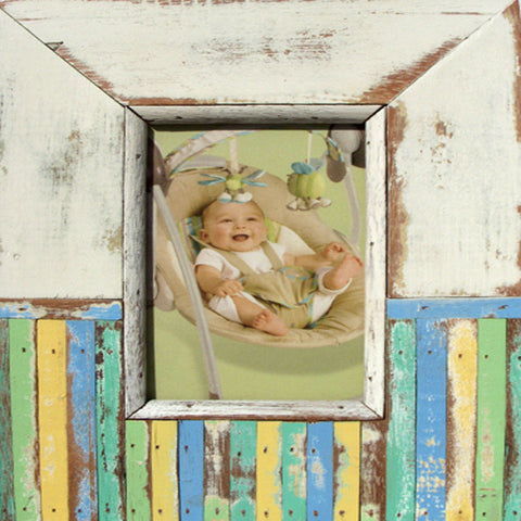 SN 044 // 50/50 White/Multicolor Picture Frame (4x6)