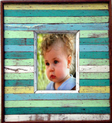 SN046 // Wood Slats Single Photo Frame 5x7