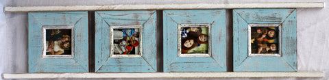 SN 298 Light Blue //  Ladder Style 4 Picture Frame (4x4)
