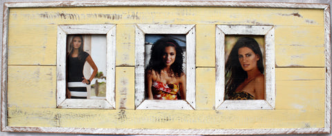 "SN 299 Yellow // Triple picture frame  4""x6"""