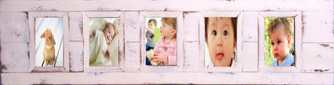 SN 301 WHITE // 5 picture recycled wood photo frame (4 x 6)
