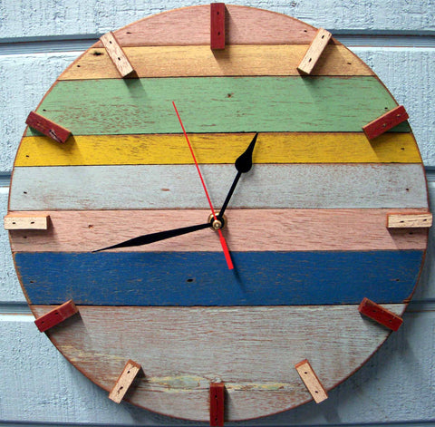 SN 347 // Spree Recycled Boat Wood Beach House Clock