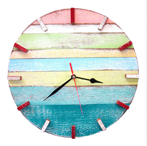 SN 347 // Spring Recycled Boat Wood Beach House Clock
