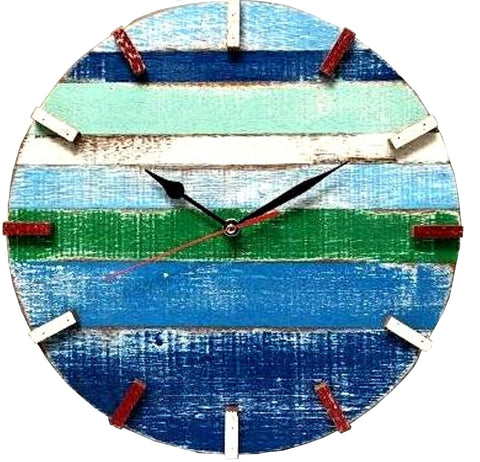 SN 347 // The Blues Recycled Boat Wood Beach House Clock