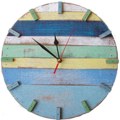 SN 347 // Sky Recycled Boat Wood Beach House Clock