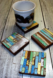 SN 253-R  // Recycled wood Round Coaster Set of 4
