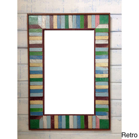 HN 048 // Retro Boat Wood Multicolor Mirror