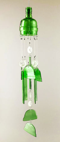 """Gin Bells"" Up-cycled Gin Bottle Chime"