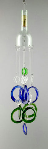 """Clearly Blue and Green"" Wine Bottle Chime"