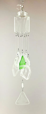 """Triangle Triad"" Up-cycled Glass Bottle Chime"