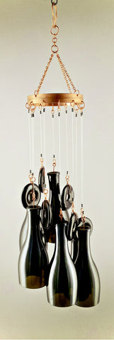 """Prosecco anyone?"" Glass and Copper Chime"