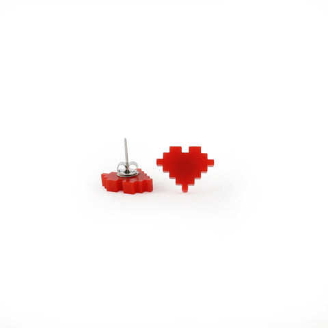 8-Bit Retro Heart Earrings
