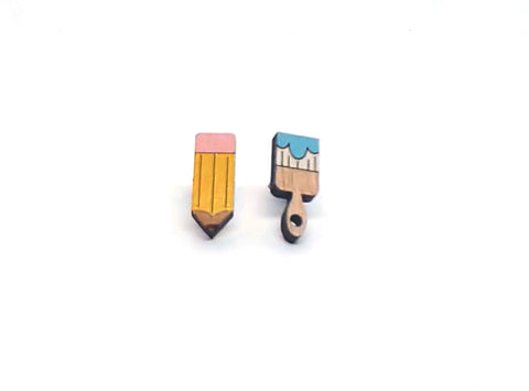 Pencil and Paintbrush Earrings