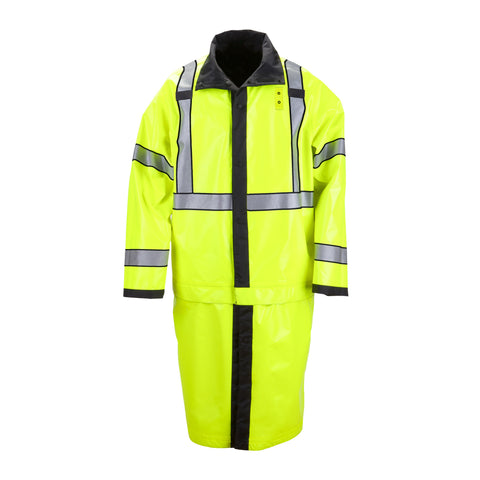 New Long Reversible High Vis Rain Coat in Black
