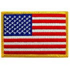 American Flag Embroidered Patch Gold Border
