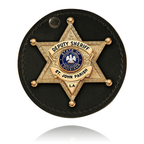 Boston Leather Round Badge Holder - Style 5889-1