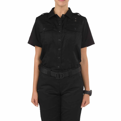Women's PDU S/S Twill Class A Shirt in Black