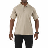 Performance Polo - Short Sleeve, Polyester Synthetic Knit in Silver Tan