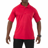 Performance Polo - Short Sleeve, Polyester Synthetic Knit in Range Red