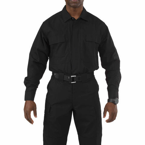 Taclite TDU Long Sleeve Shirt - Poly/Cotton Ripstop in Black