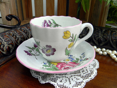 Spode Marlborough Sprays, Tea Cup and Saucer - Porcelain Teacups 10834 - The Vintage Teacup