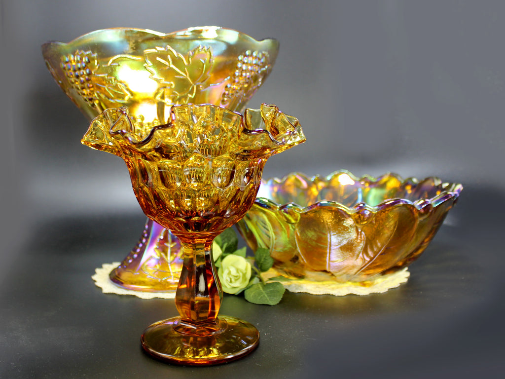 Amber Carnival Glass Lot Compotes And Serving Bowl