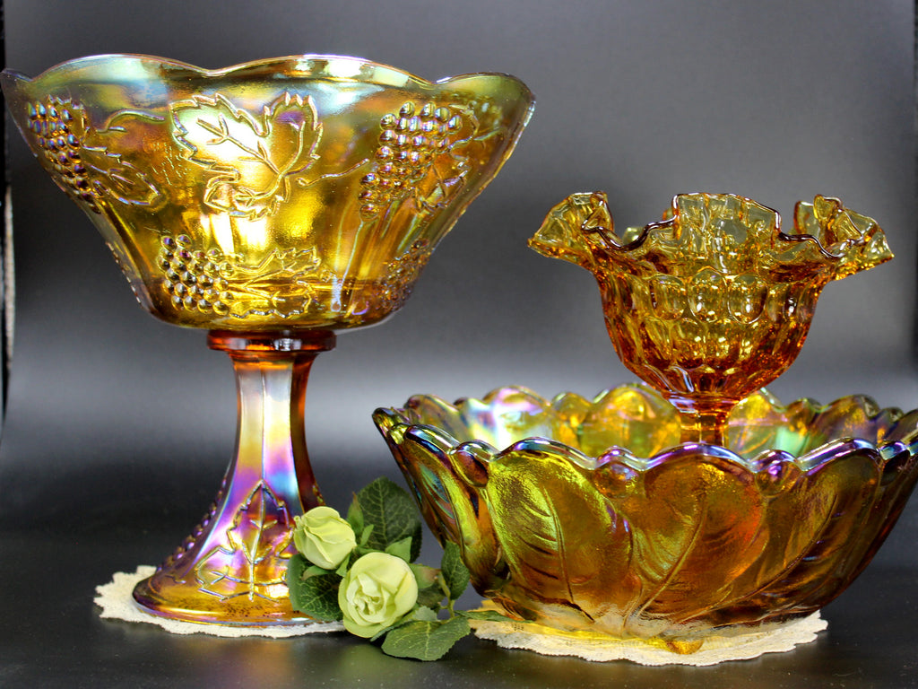 Amber Carnival Glass Lot, Compotes and Serving Bowl, Indiana Glass Serving Dishes 11227