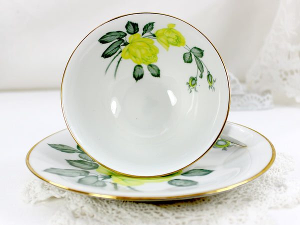 Teacup, H G Heinrick Selb, Teacup and Saucer, Chartreuse Roses, Bavaria Germany 12560