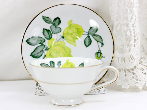 Teacup, H G Heinrick Selb, Teacup and Saucer, Chartreuse Roses, Bavaria Germany 12560 - The Vintage Teacup