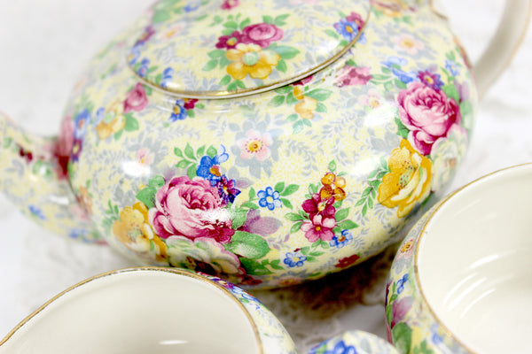 Lord Nelson Ware, Rose Time Chintz, Stackable Teapot, Stacking Tea Pot 12568 - The Vintage Teacup - 3