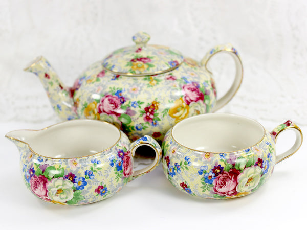 Lord Nelson Ware, Rose Time Chintz, Stackable Teapot, Stacking Tea Pot 12568 - The Vintage Teacup - 2