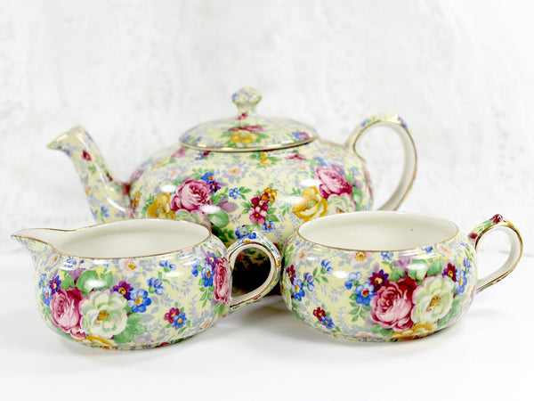 Lord Nelson Ware, Rose Time Chintz, Stackable Teapot, Stacking Tea Pot 12568 - The Vintage Teacup - 5