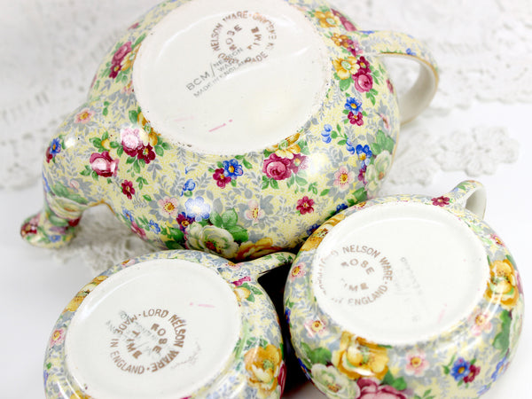 Lord Nelson Ware, Rose Time Chintz, Stackable Teapot, Stacking Tea Pot 12568 - The Vintage Teacup - 8