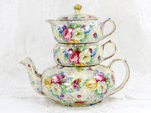 Lord Nelson Ware, Rose Time Chintz, Stackable Teapot, Stacking Tea Pot 12568 - The Vintage Teacup - 1