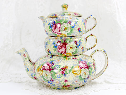 Lord Nelson Ware, Rose Time Chintz, Stackable Teapot, Stacking Tea Pot 12568 - The Vintage Teacup