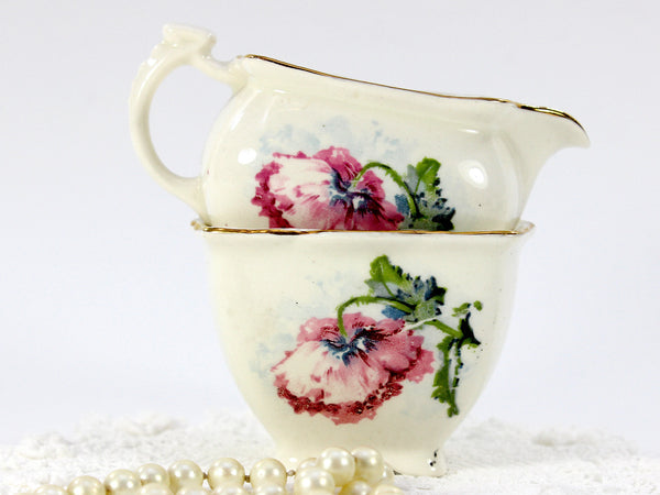 Grimwades, Royal Winton Shabby Poppy Creamer and Open Sugar Bowl 12656 - The Vintage Teacup - 2
