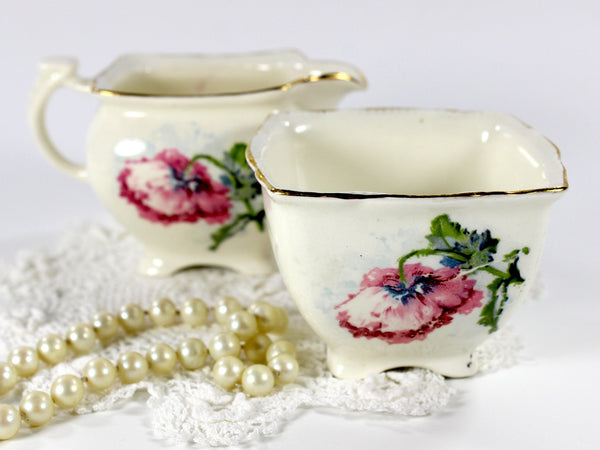 Grimwades, Royal Winton Shabby Poppy Creamer and Open Sugar Bowl 12656 - The Vintage Teacup - 3