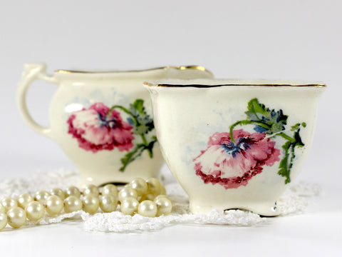 Grimwades, Royal Winton Shabby Poppy Creamer and Open Sugar Bowl 12656 - The Vintage Teacup - 1
