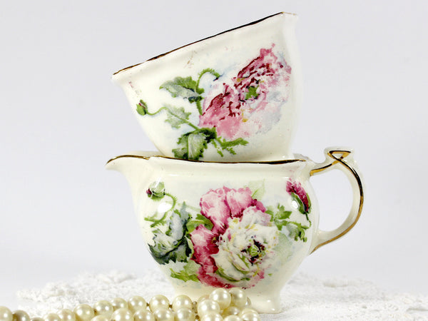 Grimwades, Royal Winton Shabby Poppy Creamer and Open Sugar Bowl 12656 - The Vintage Teacup - 5