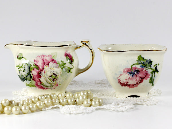 Grimwades, Royal Winton Shabby Poppy Creamer and Open Sugar Bowl 12656 - The Vintage Teacup - 6