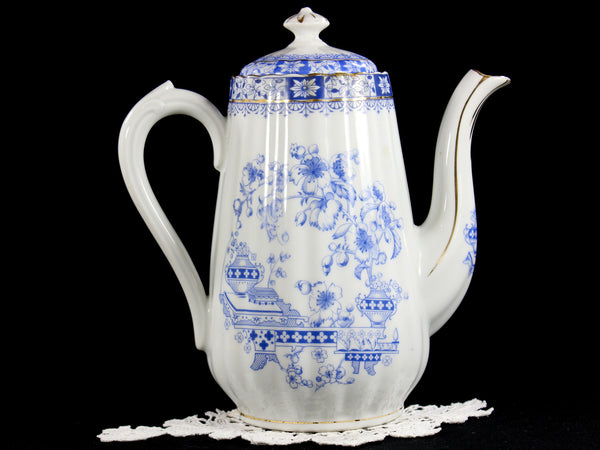 Seltmann Weiden Deutschland Blau China Chocolate or Coffee Pot, Blue and White China 12702 - The Vintage Teacup - 5