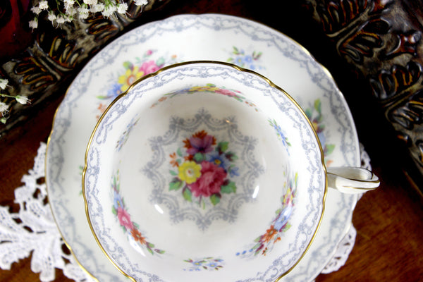 Shelley Teacup, Cup and Saucer, English Bone China, Shelley Crochet, Antique Tea 12722