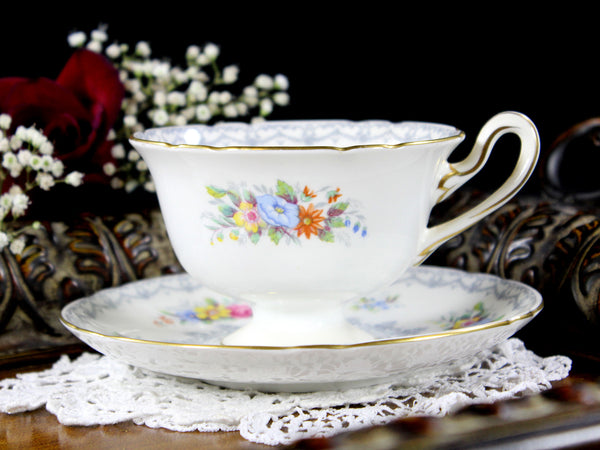 Shelley Teacup, Cup and Saucer, English Bone China, Shelley Crochet, Antique Tea 12722 - The Vintage Teacup