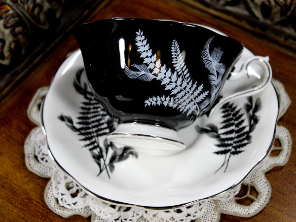 Stunning Royal Albert Black and White Fern Teacup, Avon Shaped Cup and Saucer 12815 - The Vintage Teacup - 4