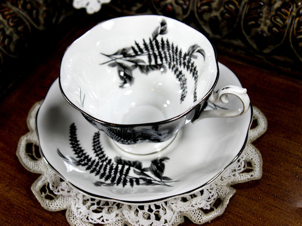 Stunning Royal Albert Black and White Fern Teacup, Avon Shaped Cup and Saucer 12815 - The Vintage Teacup - 5