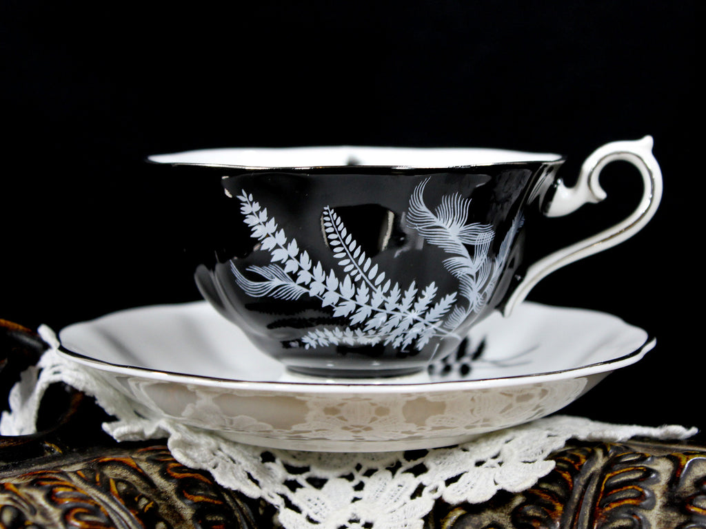Stunning Royal Albert Black and White Fern Teacup, Avon Shaped Cup and Saucer 12815 - The Vintage Teacup - 1